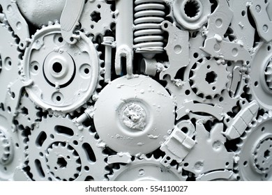 White mechanical background. White machinery abstract.