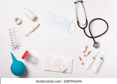 White medical background. Flat lay, top view. Healthcare medicine concept.