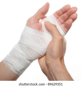white medicine bandage on injury hand on white background