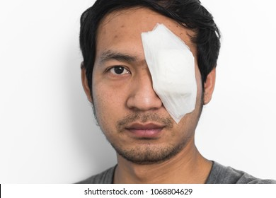 White medicine plaster patch on the eye after treatment stye eye