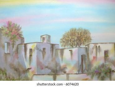 "White Mediterranean Village Section, Stromboli Island, Sicily, Italy; 50x70 cm. - 20"" x 24"" # 97-126"