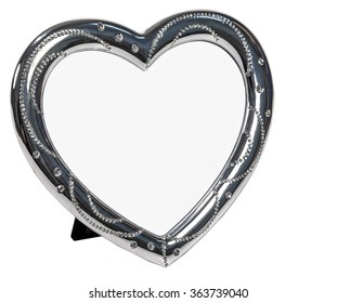 White metal photo frame with crystal in form of heart