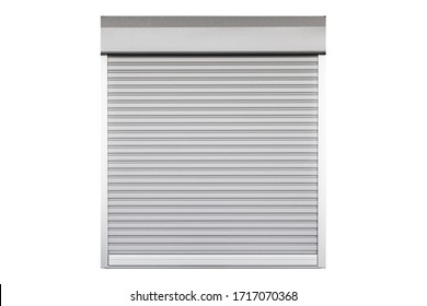 White metal roller door shutter background and texture isolated on a white background