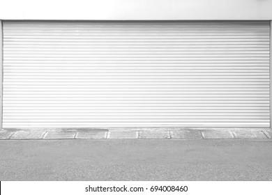 White metal roller door shutter background and texture