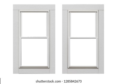 White metal window frame isolated on white background