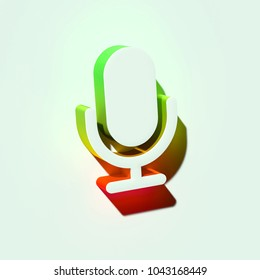 White Microphone Icon. 3D Illustration of White Mic, Microphone, Old Microphone, Radio Mic Icons With Orange and Green Gradient Shadows.