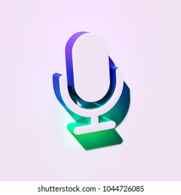 White Microphone Icon. 3D Illustration of White Mic, Microphone, Old Microphone, Radio Mic Icons With Blue and Green Shadows.