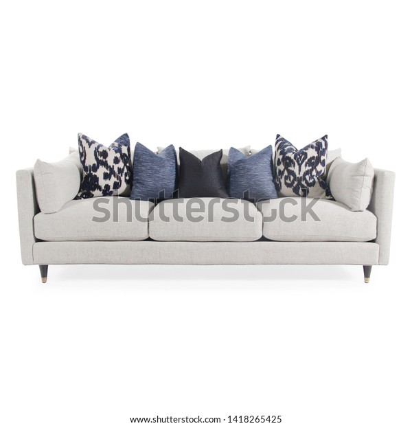 Prime White Mid Back Linen Chaise Sofa Stock Photo Edit Now Short Links Chair Design For Home Short Linksinfo