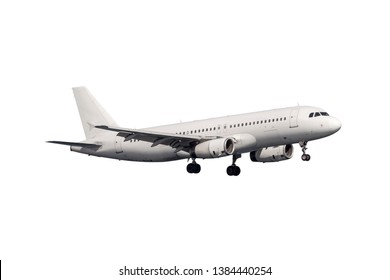 A white mid-size jet aircraft prepare for landing with landing gear isolated on white background