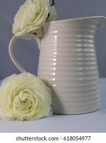 white milk jug with white ranunculus with grey background