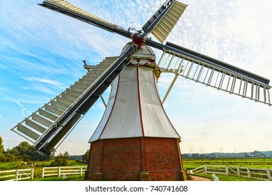 The white mill (De Witte Molen) at the village of Glimmen in the Dutch province of Groningen is a historic, 1891 built polder mill used for land draining.