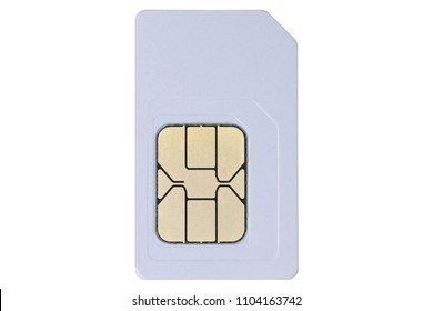 White Mini SIM Card.  Isolated. Close up. Macro photo. White background