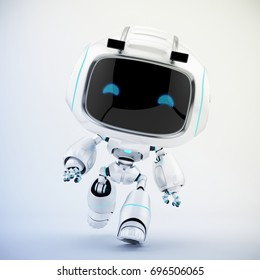 White mini unit in action – walking robot 3d render