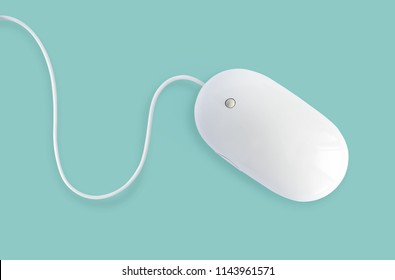 White minimalist mouse isolated on pastel mint, blue or turquoise background