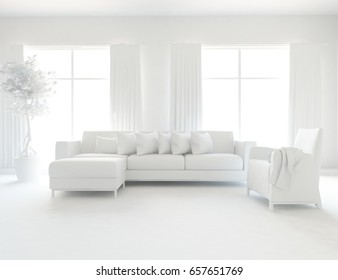 White minimalist room interior. 3d illustration