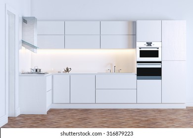 White minimalistic kitchen on wood floor
