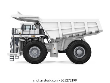 White Mining Truck Isolated. 3D rendering