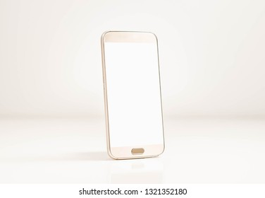 White mobile phone with blank white screen on copy space