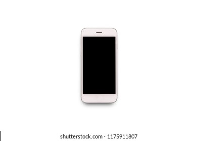 White mobile phone on white isolated background. Flat lay, top v
