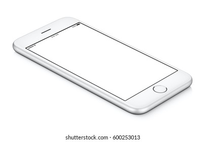White mobile smartphone mockup CCW rotated lies on the surface with blank screen isolated on white background. You can use this smartphone mock-up for your web project or design presentation.