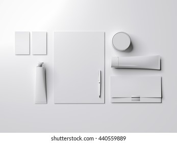 White mock up with paint tube in bright studio. 3d rendering