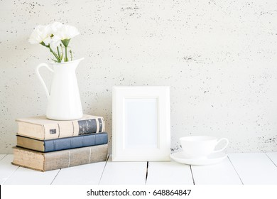 white mock up, Stylish workplace interior at home.