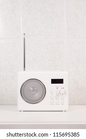 White modern bathroom  radio