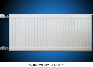 White modern convective heating radiator on blue background.