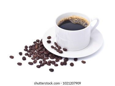 White modern cup of coffee and coffee beans on white background