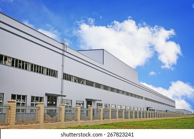 white modern factory building