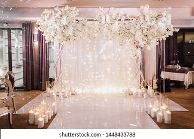 White modern glamorous wedding ceremony decoration