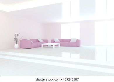 white modern interior design. 3D illustration