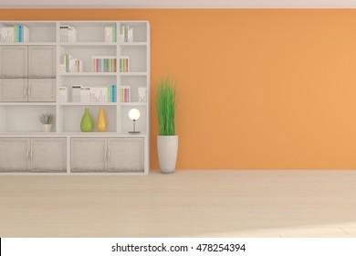 white modern interior design with bookshelf. 3D illustration