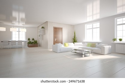 white modern interior with panoramic windows and corner sofa-3D rendering