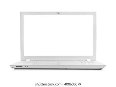 White modern laptop isolated on white background.