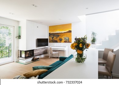White modern living room interior with yellow painting