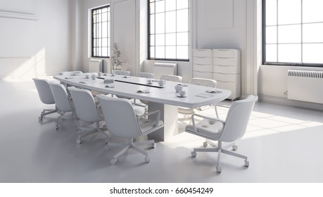 White Modern Meeting Room with projector screen  3D illustration