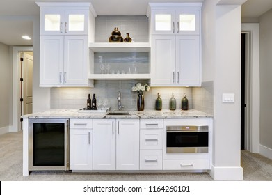 White modern mother-in-low kitchen in family room