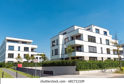 White modern multi-family houses seen in Berlin, Germany