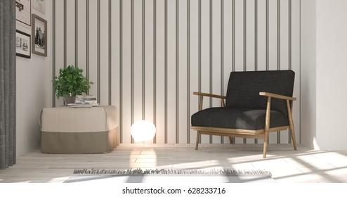 White modern room with armchair.Scandinavian interior design. 3D illustration