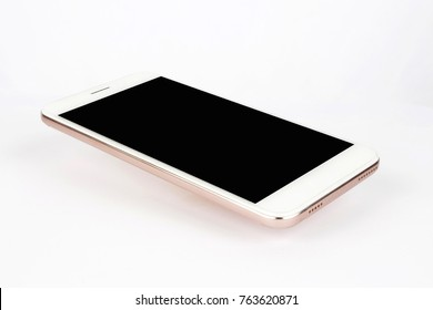White modern smart phone isolated.Blank screen for mockup.