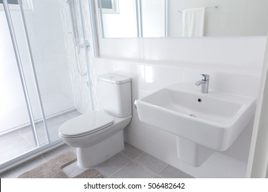 White modern toilet interior in modern home
