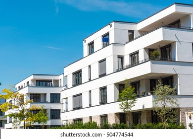 White modern townhouses seen in Berlin, Germany