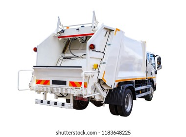 white modern truck for garbage disposal isolate on white background
