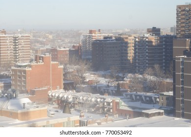 White Montreal city center in Winter, Canada
