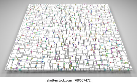 White mosaic of a square   3d Rendering, mosaic of little bricks