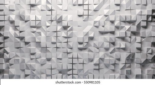 White mosaic, squares and triangles at different depths. 3d Rendering.