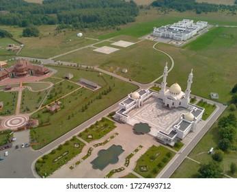 White mosque drone photo, Bolgar, Republic of Tatarstan, Russia