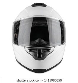 White motorcycle carbon integral crash helmet isolated on white background. motorsport car kart racing transportation safety concept