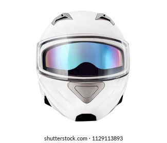 White motorcycle helmet with iridium shield, Flip-up helmet with sun visor, Classic helmet isolated on white background with clipping path